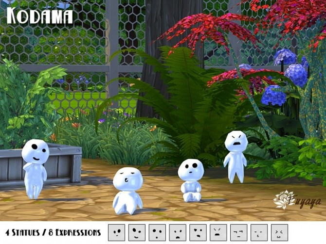 Sims 4 Kodama personages by Fuyaya at Sims Artists