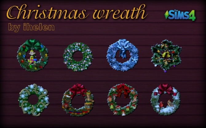 Sims 4 Christmas Wreath stickers at ihelensims