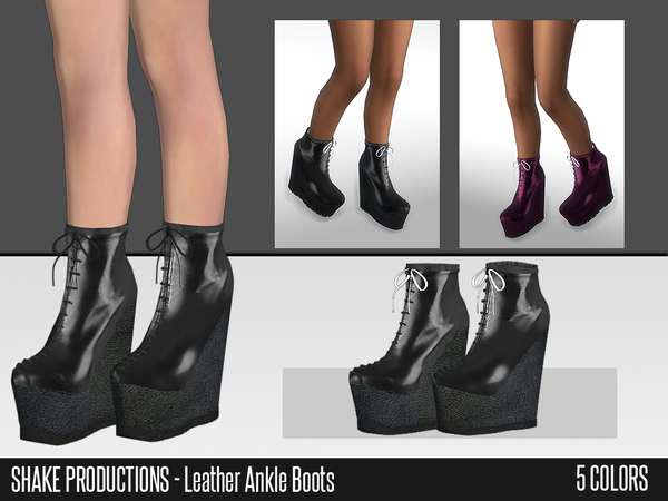 Sims 4 Leather Ankle Boots by ShakeProductions at TSR