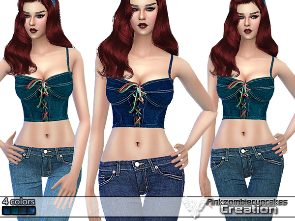 PZC Classic Jeans Bustier by Pinkzombiecupcakes at TSR image 1580 Sims 4 Updates