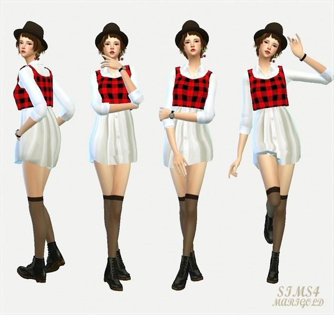 Sims 4 Long shirt with vest at Marigold
