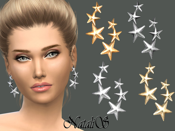 Three stars earrings by NataliS at TSR image 1649 Sims 4 Updates