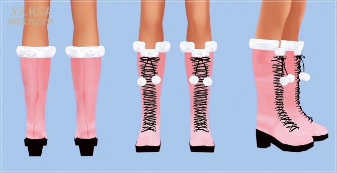 Sims 4 Pompom lace up boots at Marigold