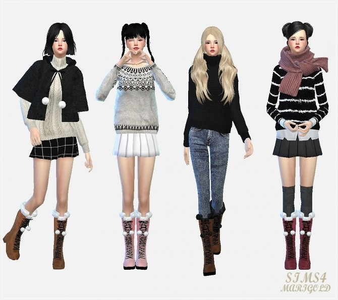 Pompom lace up boots at Marigold image 1776 670x595 Sims 4 Updates