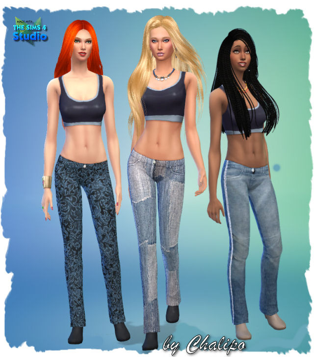 Sims 4 3 jeans for females by Chalipo at All 4 Sims