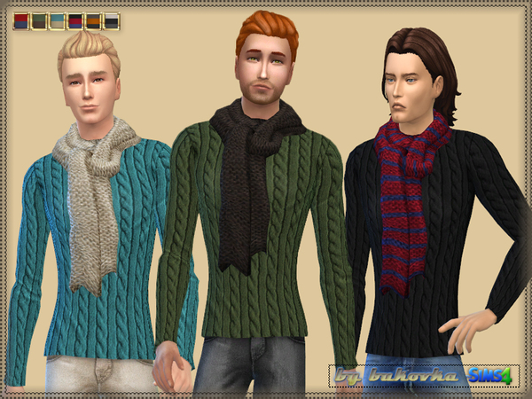 Sims 4 Sweater with Scarf by bukovka at TSR