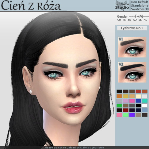 Sims 4 Eyebrows No.1 at Cień z róża