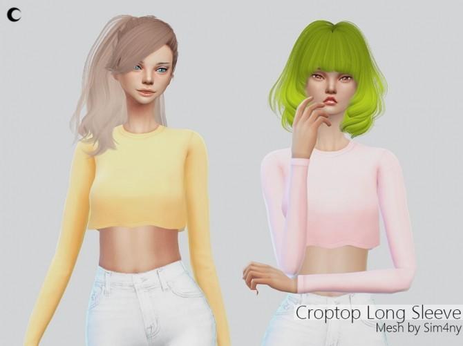 Croptop Long Sleeve at Kalewa a image 201 670x501 Sims 4 Updates
