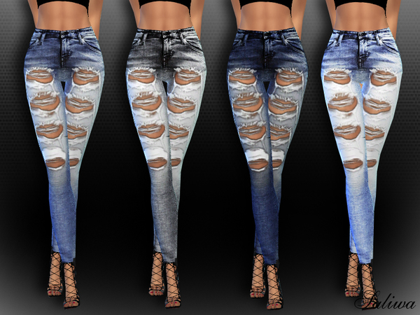Sims 4 High Waisted Realistic Ripped Jeans by Saliwa at TSR