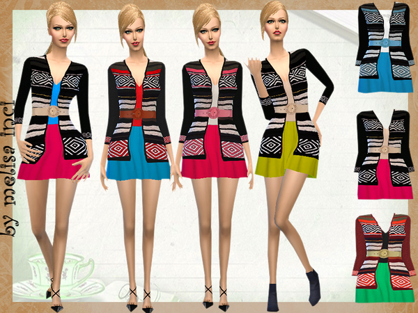 Sims 4 Dress With Cardigan Jacket by melisa inci at TSR