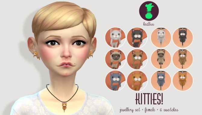 Sims 4 KITTY necklace and earrings at Kedluu