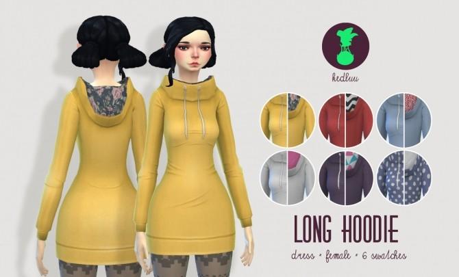Sims 4 LONG HOODIE at Kedluu