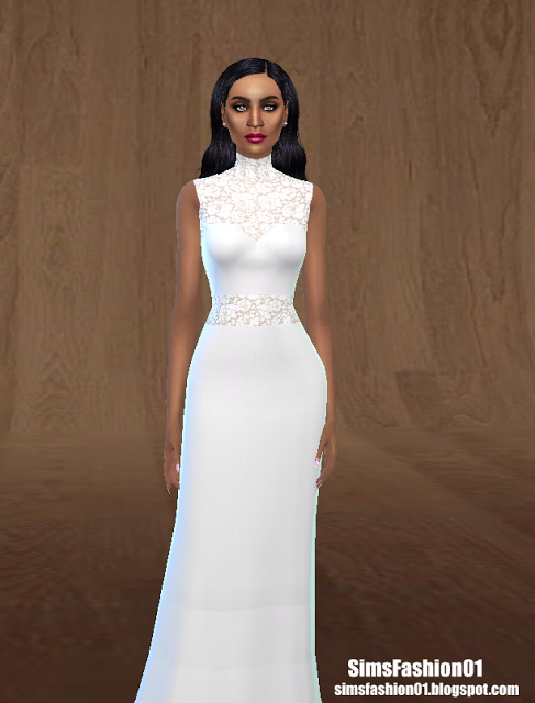 Sims 4 Tulle Wedding Dress with Floral Lace at Sims Fashion01
