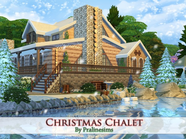Sims 4 Christmas Chalet by Pralinesims at TSR