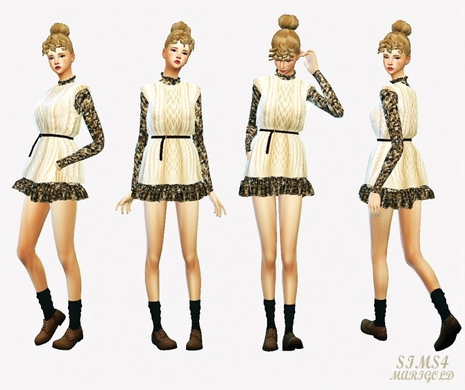 Sims 4 Knit vest with dress at Marigold