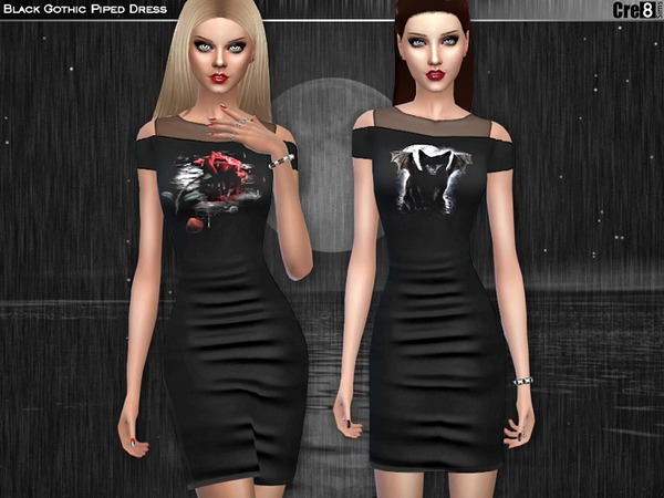Sims 4 Black Gothic Piped Dress by Cre8Sims at TSR