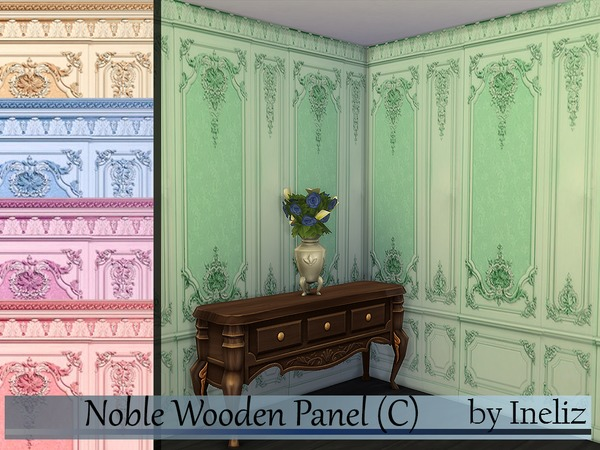 Sims 4 Noble Wooden Panel by Ineliz at TSR