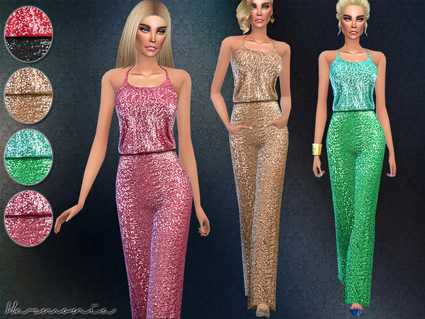 Sims 4 Wide leg Pants Sequined Jumpsuit by Harmonia at TSR