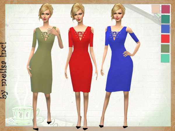 Sims 4 Lace Up Cold Shoulder Dress by melisa inci at TSR