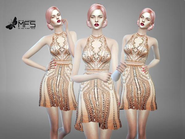 Sims 4 MFS Josephine Dress by MissFortune at TSR