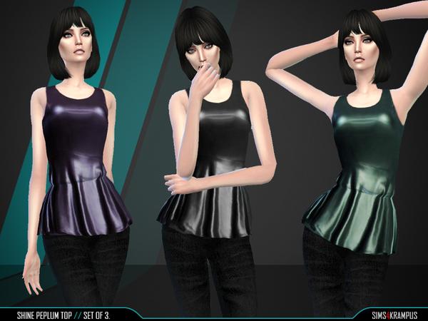 Sims 4 Shine Peplum Top by SIms4Krampus at TSR