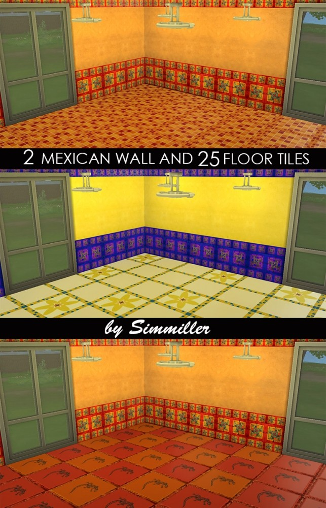 Sims 4 2 Mexican Walls and 25 Floors Set by Request by Simmiller at Mod The Sims
