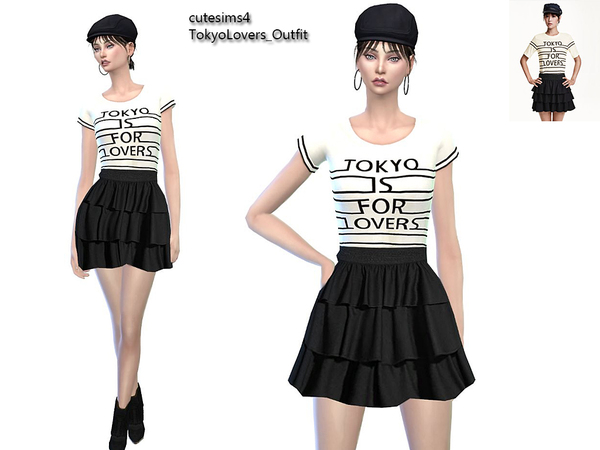 Sims 4 Tokyo Lovers Outfit at TSR