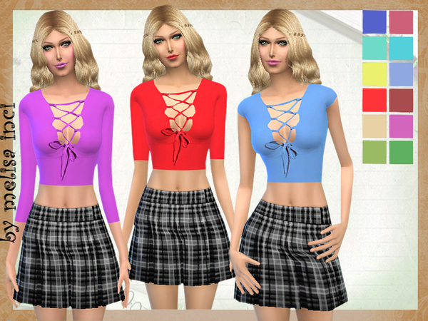 Lace Up Jersey Top by melisa inci at TSR image 317 Sims 4 Updates