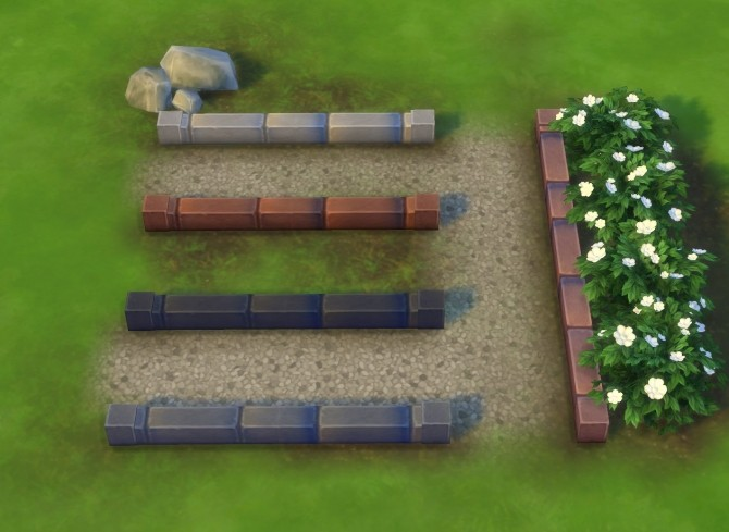Sims 4 Very Low Stone Wall by plasticbox at Mod The Sims