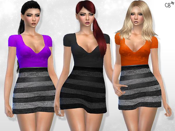 Sims 4 Halloween Jack o lantern dress by CherryBerrySim at TSR