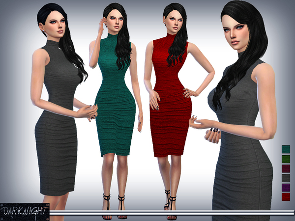 Sims 4 Jersey Dress with Turtleneck by DarkNighTt at TSR