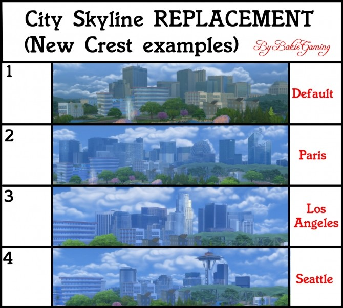 Sims 4 3 NEW City Skyline Replacements by Bakie at Mod The Sims