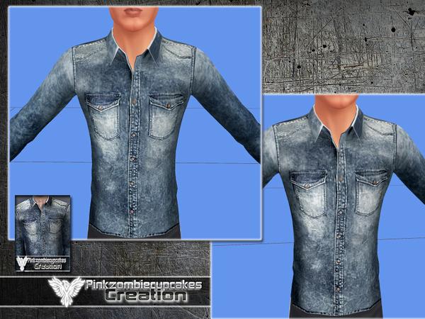 Sims 4 PZC Denim West Side Shirt by Pinkzombiecupcakes at TSR