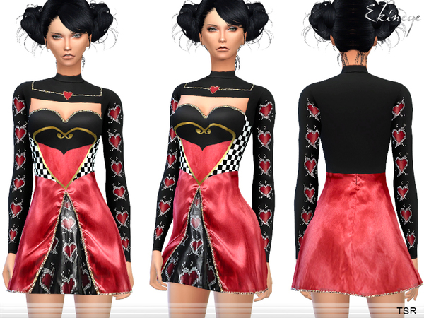 Sims 4 Halloween Queen Of Hearts costume by ekinege at TSR