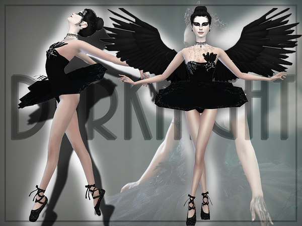 Sims 4 Black Swan outfit by DarkNighTt at TSR