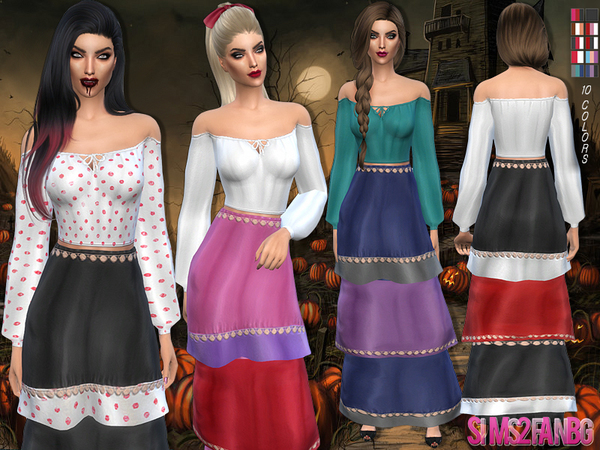 Sims 4 Halloween Gypsy costume by sims2fanbg at TSR