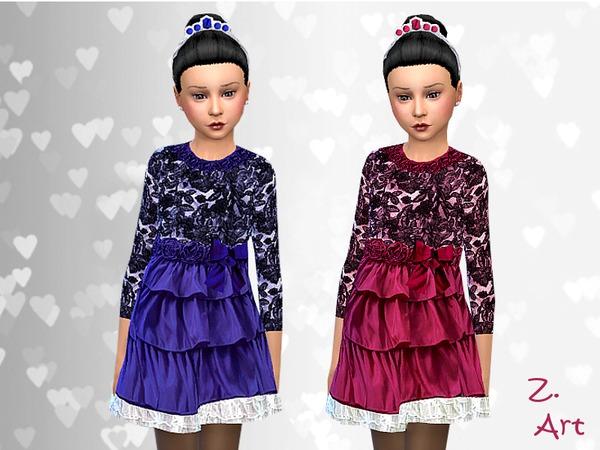 Sims 4 Satin Roses dress by Zuckerschnute20 at TSR