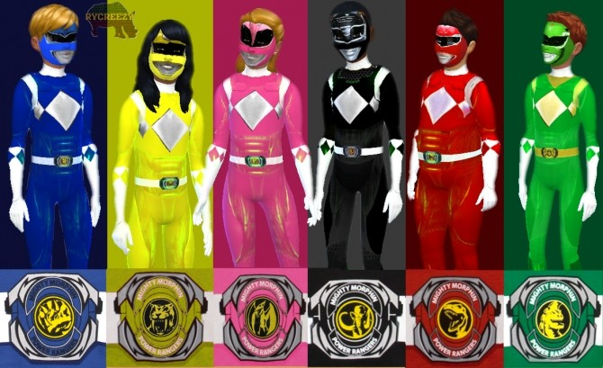 Glowing Mighty Morphin Power Rangers Kids Costume at Blacksimzmatter – Rycreezy image 425 670x409 Sims 4 Updates