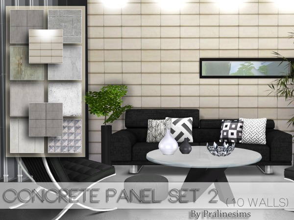 Sims 4 Concrete Panel Set 2 by Pralinesims at TSR
