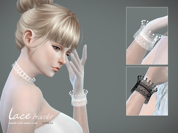 Lace bracelet & gloves by S Club LL at TSR image 4713 Sims 4 Updates