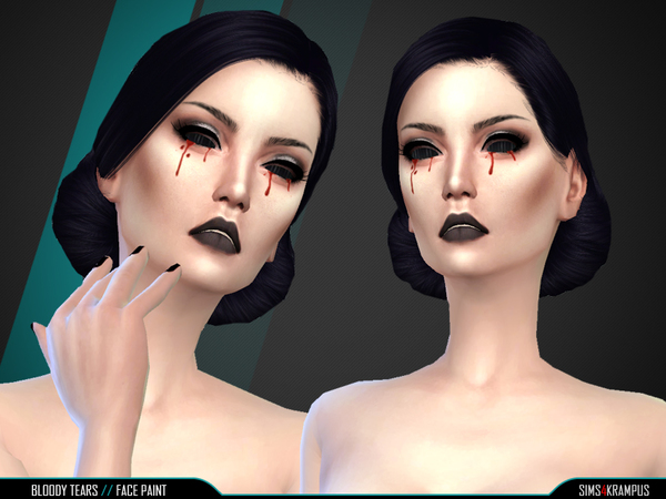 Bloody Tears Face Paint by SIms4Krampus at TSR image 496 Sims 4 Updates