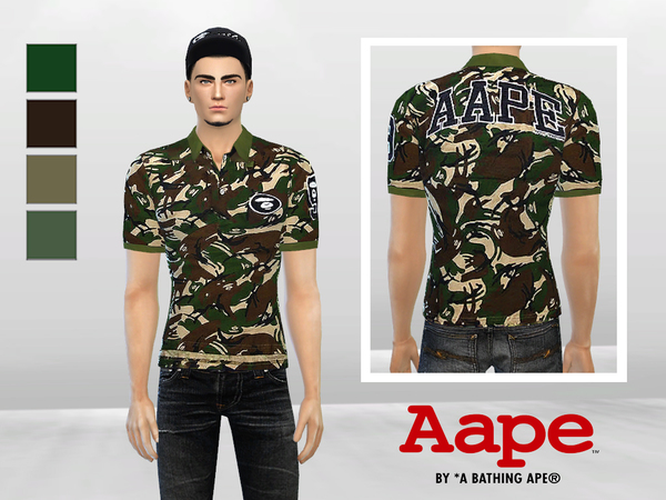 Big Ape Camouflage Polo by McLayneSims at TSR image 5111 Sims 4 Updates