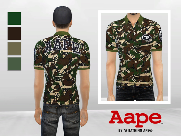 Big Ape Camouflage Polo by McLayneSims at TSR image 527 Sims 4 Updates