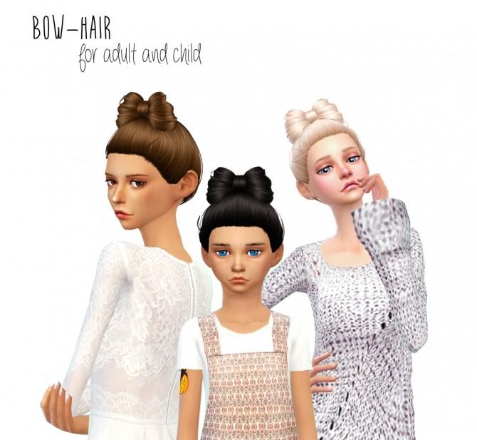 Sims 4 Non alpha bow hair at Dani Paradise