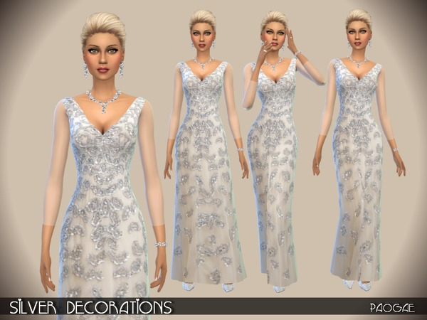 Silver Decorations dress by Paogae at TSR image 5721 Sims 4 Updates