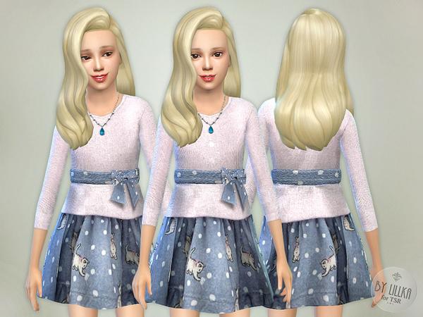 Sims 4 Kitty Knit Dress by lillka at TSR