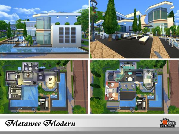 Sims 4 Metawee Modern house by autaki at TSR