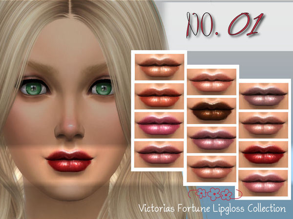 Sims 4 Victorias Fortune Lipgloss No. 01 by fortunecookie1 at TSR
