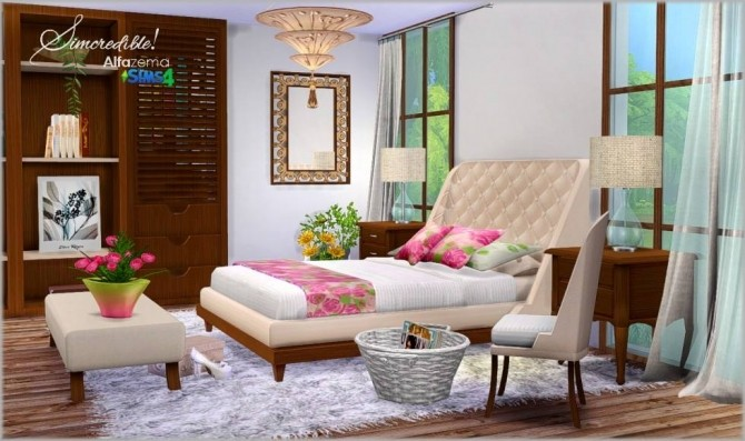 Alfazema bedroom at simcredible designs 4 sims 4 updates for Bedroom designs sims 4