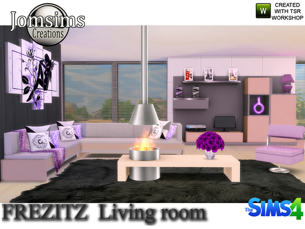 Frezizt modern living room by jomsims at tsr sims 4 updates for Modern living room sims 4